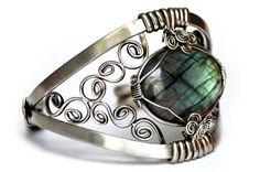 Wire Wrap Art Nouveau Cuff Bracelet with Labradorite stone