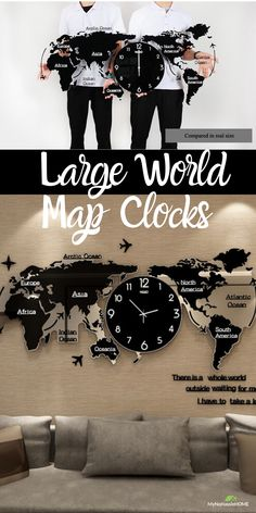 Large World Map Wall Clocks
