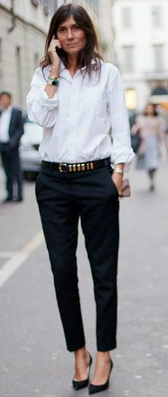 Emmanuelle Alt. black trousers , black belt with silver accents , a button up shirt , sleek shoes = simply perfect