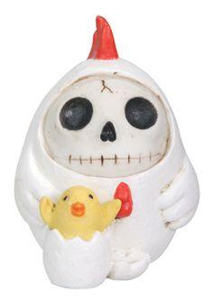Furry Bones Chicken Figurine Sculpture Figure