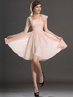 Asymmetric Neckline Chiffon A Line Homecoming Dress - USD $96.99