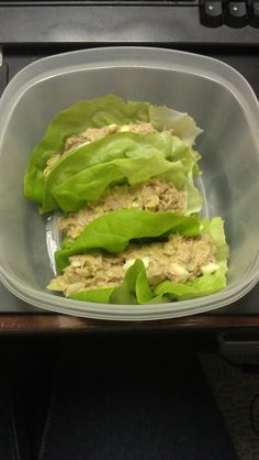 Delicious tuna wraps! Used mostly avocado and only a little lite may, onions, relish, boiled egg, wrapped up in some Boston lettuce! A quick, simple, low carb lunch! The hubs raved about these!