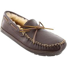 Men's Minnetonka Sheepskin Moosehide Slippers are great for a chilly night at home with a movie and some popcorn.