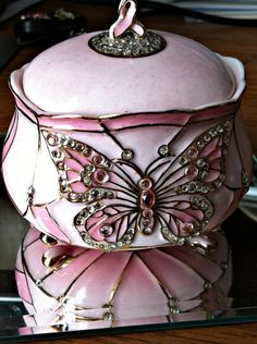 Heirloom Porcelain PINK Butterfly Music box BREAST CANCER WIngs of Hope jeweled