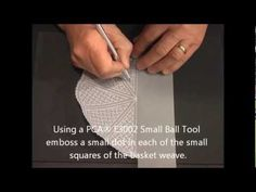 Parchment Craft - PCA Part 3 Our Pretty BasketWeave on Scalloped Fan/Shell card (PART 3 of 4) - YouTube