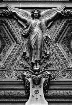The Louvre ceiling.another reason to make a return visit to The Louvre. I hear Paris calling my name. Angels Among Us, Angels And Demons, Art Sculpture, Sculptures, Statue Ange, Louvre Paris, Montmartre Paris, I Believe In Angels, Cemetery Art