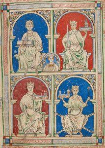 Representación de los reyes Enrique II, Ricardo Corazón de León, Juan Sin Tierra y Enrique III. Historia Anglorum, Matthew Paris, BL Royal MS 14 C VII.