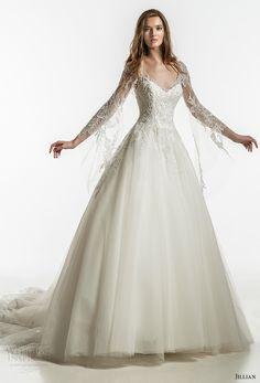 jillian 2018 bridal long sleeves sweetheart neckline heavily embellished bodice romantic fairytale a  line wedding dress open v back royal train (22) mv -- Jillian 2018 Wedding Dresses