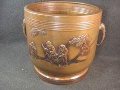 Japanese Antique 100 Year Old Copper Vase Hibachi Famous Buddhist Philosopher   eBay