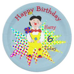A fun and colorful personalized birthday party paper plate with a jolly circus clown, so cute and a favorite with young boys and girls alike; just customize it with your child's details or text of your choice.