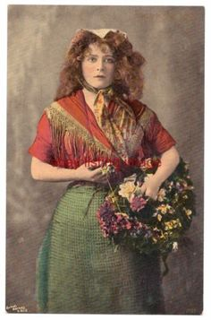 Stage actress Mabel Love in costume as a flower seller Vintage Images, French Vintage, Stage Beauty, Pre Raphaelite Paintings, Who Will Buy, Colorized Photos, Classic Paintings, Photo Postcards, Great Artists