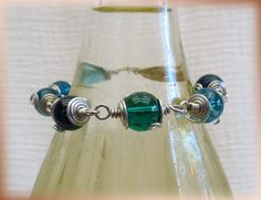 Silver and Turquoise beaded bracelet. Hand made jewelry - pinned by pin4etsy.com