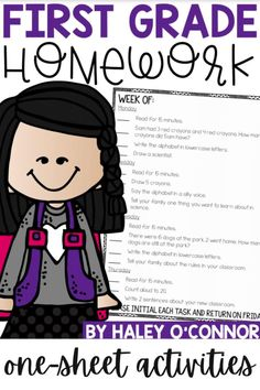 This homework is set up into 50 weeks for 4 day's worth of activities. The homework progresses in difficulty and follows a typical 1st grade pacing guide. You'll also find many of the activities are review from previous weeks. Each week follows a schedule including Reading & Comprehension, Story Problems, Phonics, Grammar, Science, Social Studies, Math, and Writing. | First Grade Resources | Common Core Math for Elementary |