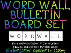 This Word Wall Bulletin Board Set Includes Header And Letters In Black White Save
