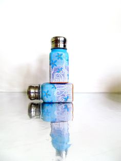 Tropical:Blue and Purple Hand Painted Salt and Pepper Shaker Set