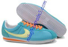 Nike Classic Cortez Nylon Mens Pale Turquoise Orange Yellow 385395 403  Orange And Turquoise 69d1054b9