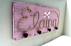 Kids room decor, childrens coat hooks, cowgirl baby shower, necklace holder, custom rope name, rustic coat rack, wooden knob, country girl