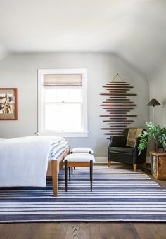 Neutral, and masculine guest room makeover
