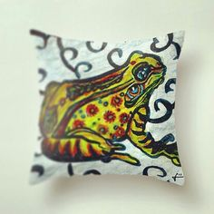 The #Lucky #Frog #Throw #Pillow is Now on the RichwillCompany.com shop!! And for a limited time its 20% off along with any of our other home decor products on Society6!  Use the link in my comment to get there! OR go to richwillcompany.com! Thank you for all the support and theres lots of great things to come! #art #artist #illustration #drawing #society6 #richwillcompany #amphibian
