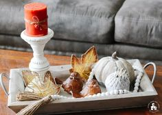 It's Fall, and I'm sharing 12 Fall Coffee Table Tray Decor Ideas that I hope will inspire you in your fall decorating. Coffe Table Tray, Coffee Table Design, Small Wooden Tray, Decorating Coffee Tables, Fall Decorating, Metal Pumpkins, Autumn Coffee, Handmade Copper, Tray Decor