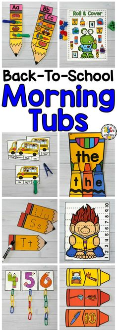 These Back-to-School Morning Tubs are fun and hands-on activities used to learn and review literacy and math concepts. These interactive morning tubs are also an entertaining and engaging way to start the day. This set includes 5 literacy and 5 math morning tubs that are perfect for children around the ages of 4-6. You can download a free sample from our Teacher's Pay Teachers store.