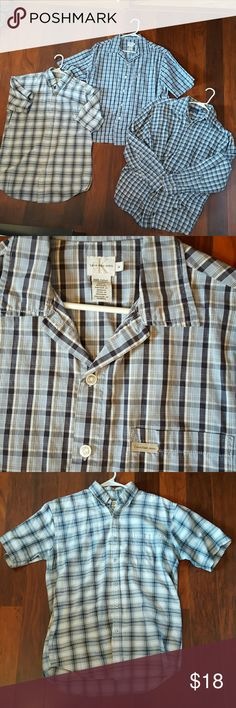 Bundle 3 Men's Dress Shirts These 3 Men's shirts are in great condition! One is Calvin Klein brand, 2 are short sleeved and one long sleeved!! They are all button up and plaid print!!! Calvin Klein Tops Button Down Shirts