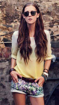 love the hidden braid underneath the top layers of hair