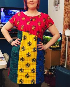 I was at the Harry Potter quiz last night, so I had to wear my new dress made by my mum using the Harry Potter houses fabric. Very bright and very me Harry Potter Fabric, Fabric Suppliers, Sewing Material, Haberdashery, Ravenclaw, Fleece Fabric, Cheap Dresses, Dress Making, New Dress