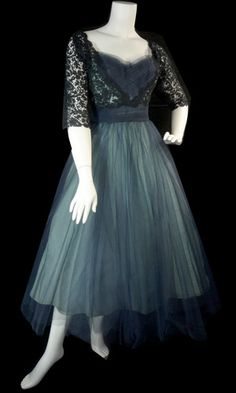 Beautiful vintage blue dress with black lace...