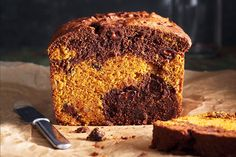 Chocolate Pumpkin Swirl Loaf—Studded with chocolate chips and crystallized ginger, this moist marbled loaf makes the best fall-flavoured afternoon treat. For the prettiest slices, generously swirl the batters together.