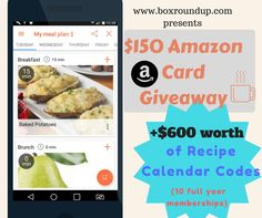 Recipe Calendar and $150 Amazon Gift Card Giveaway ~ Ends 3/7 ~ Blue Door Reviews @ehesketh