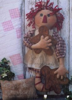 Raggedy Ann from You are special. Primitive Patterns, Primitive Folk Art, Primitive Christmas, Christmas Crafts, Primitive Crafts, Country Primitive, Gingerbread Crafts, Gingerbread Man, Country Crafts
