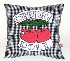Gingham Pillow with Tattoo Style Cherry Doll by Dollydripp on Etsy, £25.00