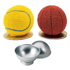 sports balls cake pan -- I made the basketball version for my older son's 5th birthday -- it looked so real that my younger son tried to pick it up and shoot it!  great food and great memories too!