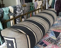 Antique French large blue cream striped cotton ticking bolster bed pillow long cushion