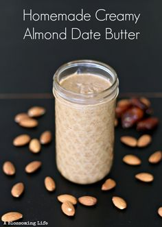 Homemade creamy almond date butter. So delicious it's addicting!