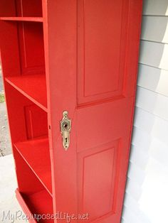 DIY ~ Repurpose an old door into a bookcase by cutting it in half and adding shelves. Finish it off with a vibrant high-gloss color to give it a fresh modern feel.