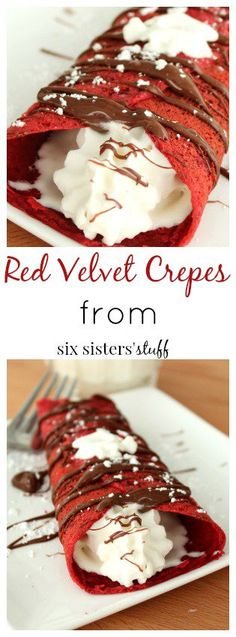 Red Velvet Crepes from Six Sisters' Stuff | If you love red velvet you do not want to miss this recipe! These crepes are easy to make and taste amazing! Serve with cream cheese, whipped cream, Nutella, chocolate sauce, strawberries, or powdered sugar. This is the perfect breakfast for that special someone this Valentine's Day.