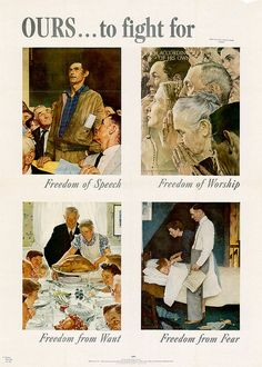 """1943, """"The Four Freedoms"""" Norman Rockwell"""