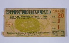 January 1, 1942: the RoseBowl was played in Durham—the only time the game has not been played in Pasadena, California.
