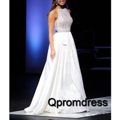 Long prom dress, ball gown, cute white chiffon beaded hollow out prom dress for 2016 #coniefox #2016prom