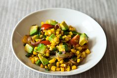 Charred Corn and Avocado Salad with Lime, Chili, and Tomato recipe: A simple salad to have up your sleeve. avocado salad (with home Dog Food Recipes, Salad Recipes, Cooking Recipes, Healthy Recipes, Corn Recipes, Avocado Recipes, Recipes Dinner, Free Recipes, Recipies
