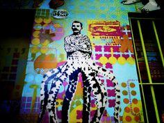 grafiti, pulpo, hombre, pared