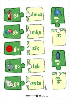 Puzzle - pary. Głoska [g] - Printoteka.pl Puzzle, Education, Schools, Character, Games, Speech Language Therapy, Therapy, Puzzles, School