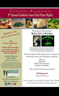 Tonight March 5th, 5-8:30pm Glenora Wine Cellars - Veraisons Restaurant 9th Annual Celebrity Guest Chef Pasta Night A portion of the proceeds will be dontated to Defense for Devin Memorial Fund.  $17.95 pp+ price includes a Fresh Garden Salad, Bread Basket and Unlimited Trips to the Pasta Station! Come out and show your support! #glenorawine #veraisons #defensefordevon #pasta