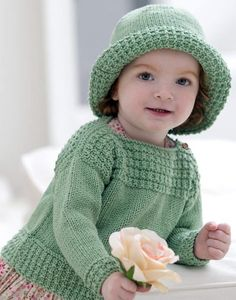 Free Knitting Pattern for Boatneck Sweater and Hat - Matching hat and pullover features an each ridge texture stitch and buttons at the shoulder for easy dressing. Sizes 6 months (12 months, 18 months, 24 months). Designed by Grace Alexander.