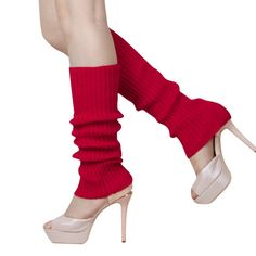"FUNOC Women Girls Winter Knit Leg Warmers Stocking Knee High Legging Boots Socks Red. Material:Acrylic fibers. Size Details: 44x9cm/17.32x3.54""(Approx.). Eye-catching neon color, this pair of finger less leg warmers socks is a perfect partner for women's boots or shoes on various seasons. Slouth style and solid color design make these boots topper cuffs warm and fashion. Add a pair of knitted Leg warmers just decor your shoes into a shiny candy colored boots. We love them with rain or..."