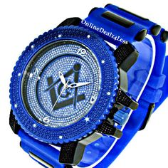 Iced Out Men's Blue Black Masonic Ice Nation Hip Hop Bling Silicone Watch | eBay