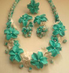 Turquoise jewellery Flower jewellery set Viola flower by insou, $40.00