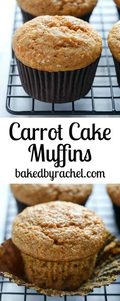 Moist applesauce carrot cake muffin recipe from @bakedbyrachel